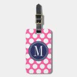 Girly Pink & Navy Big Polka Dots Monogrammed Bag Tags