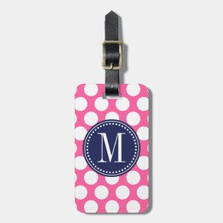 Girly Pink & Navy Big Polka Dots Monogrammed Tag For Luggage