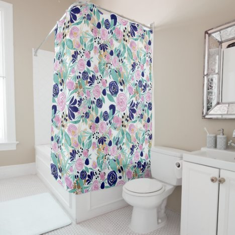 Girly Pink Navy Blue Gold Watercolor Flowers Shower Curtain