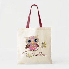 Girly Pink Owl Budget Tote at Zazzle