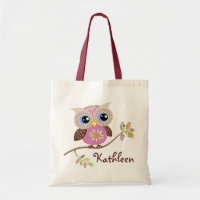 Girly Pink Owl Budget Tote Budget Tote Bag