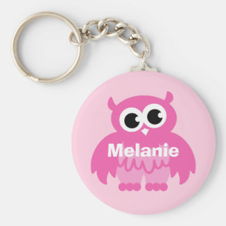 Girly pink owl cartoon keychain with name
