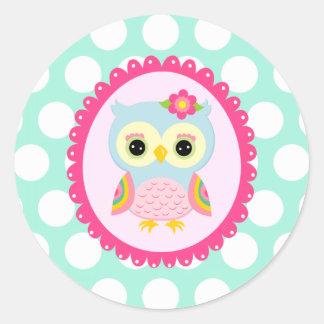 Girly Pink Owl Flower & Rainbow Aqua Polka Dots Classic Round Sticker