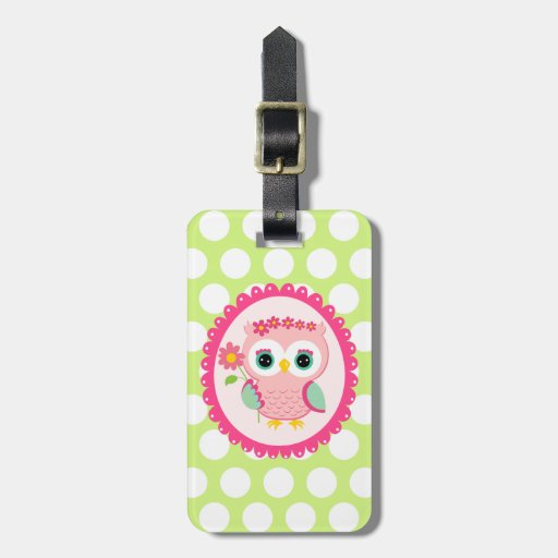 Girly Pink Owl Flower Spring Green Polka Dots Luggage Tag