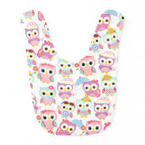 Girly Pink Owls Cute Pattern Baby Bib