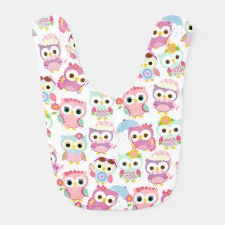Girly Pink Owls Cute Pattern Baby Bib
