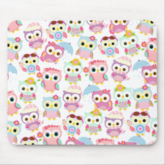 Girly Pink Owls Cute Pattern Mouse Pad