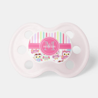 Girly Pink Owls Cute Pattern PersCustomize Product BooginHead Pacifier