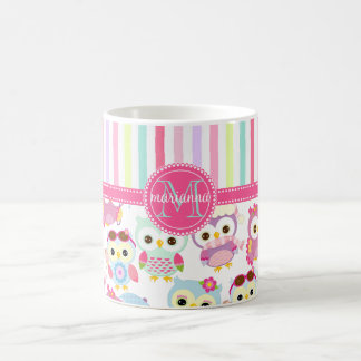 Girly Pink Owls Cute Pattern PersCustomize Product Classic White Coffee Mug