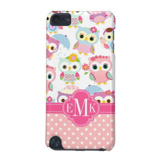 Girly Pink Owls Cute Pattern Personalized iPod Touch 5G Cover