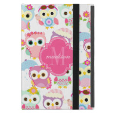 Girly Pink Owls Cute Pattern Personalized Cases For iPad Mini at Zazzle