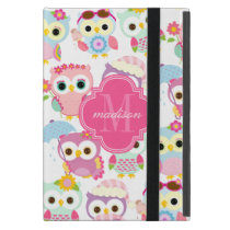 Girly Pink Owls Cute Pattern Personalized Cover For iPad Mini