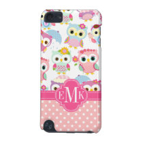 Girly Pink Owls Cute Pattern Personalized iPod Touch 5G Case