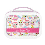 Girly Pink Owls Cute Pattern Personalized Lunch Box