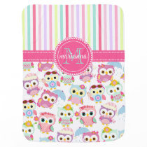 Girly Pink Owls Cute Pattern Personalized Receiving Blanket