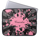 Girly pink paint splatters to personalize computer sleeve