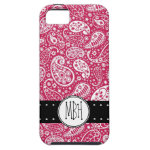 Girly PINK Paisley Pattern with Monogram iPhone 5 Cover