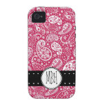 Girly PINK Paisley Pattern with Monogram Case-Mate iPhone 4 Case
