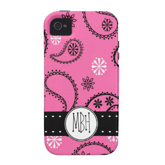 Girly PINK Paisley Pattern with Monogram Case-Mate iPhone 4 Covers