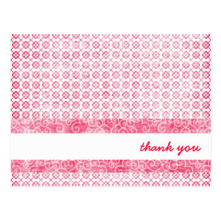 Girly Pink Patterned Thank You Cards