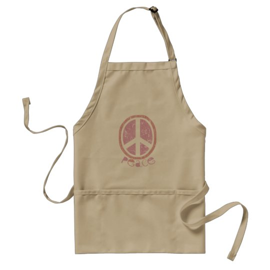 Girly Pink Peace Sign Adult Apron