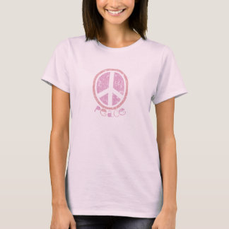 Girly Pink Peace Sign T-Shirt