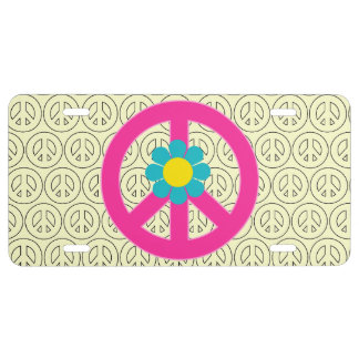 Girly Pink Peace Symbol Sign License Plate