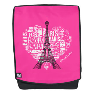 Girly Pink Personalizable Gift | Love Paris Backpack