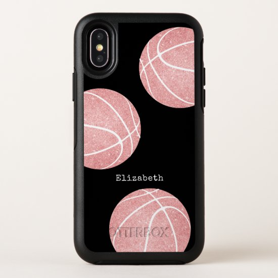 girly pink personalized basketball OtterBox symmetry iPhone x case