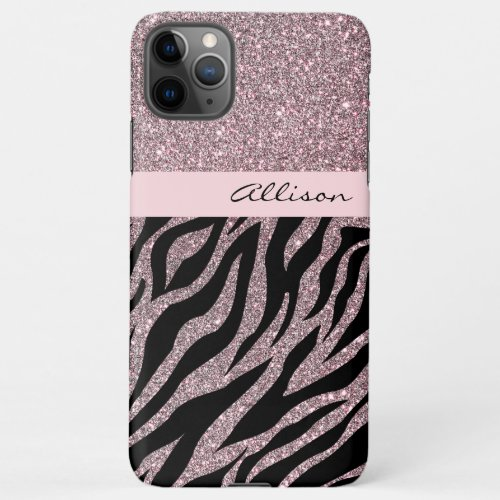Girly Pink Personalized Name Zebra Print Rose Gold iPhone 11Pro Max Case