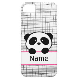 Girly Pink Personalized Panda iPhone 5 Case