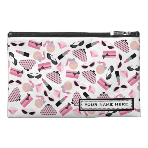 Girly Pink Personalized Travel Accessory Bag