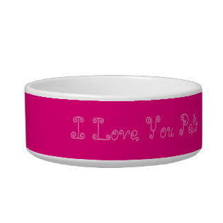 Girly Pink Pet Bowl I Love You Pets