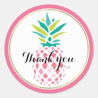 Girly Pink Pineapple Classic Round Sticker