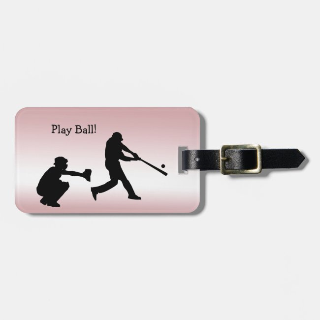 Girly Pink Play Ball Baseball Sports Luggage Tag