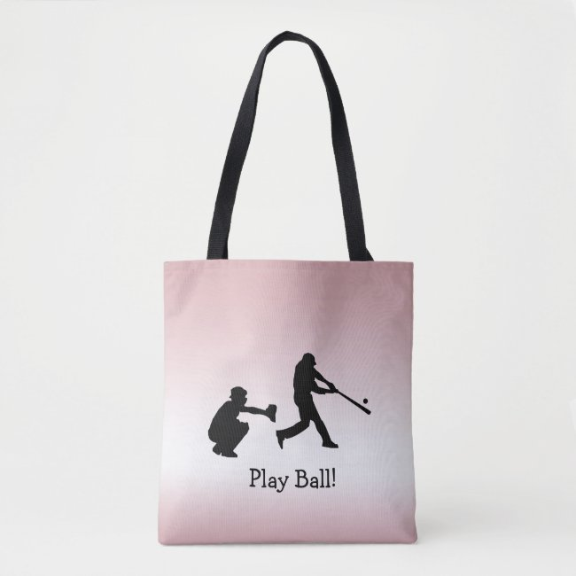Girly Pink Play Ball Baseball Sports Tote Bag