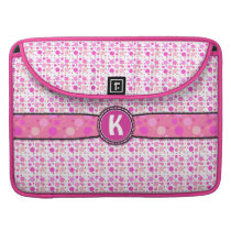 Girly Pink Polka Dot Monogram Pattern MacBook Pro Sleeve