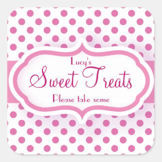 Girly Pink Polka Dot Pattern Cute Stickers