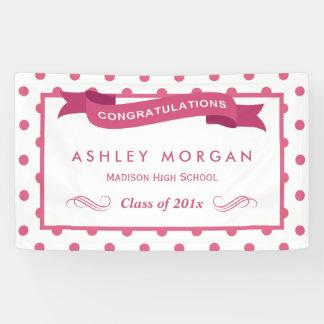 Girly Pink Polka Dots Congrats Graduation Party Banner