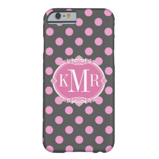Girly Pink Polka Dots Pattern Vintage Monogram Barely There iPhone 6 Case