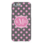 Girly Pink Polka Dots - Vintage Frame Monogram Barely There iPhone 6 Case