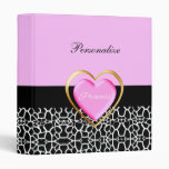 Girly Pink Princess Giraffe Print Vinyl Binder