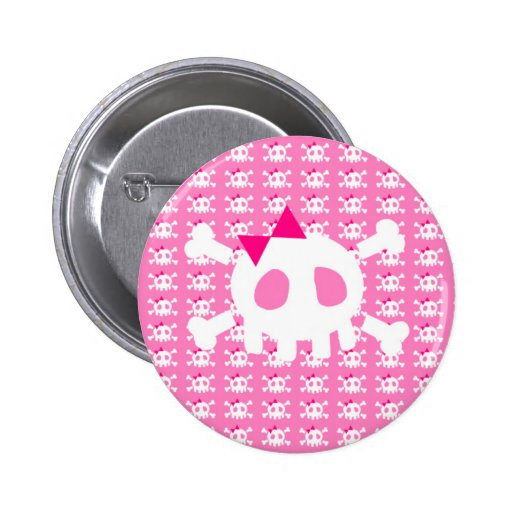 Girly Pink Punk Skull 2 Inch Round Button
