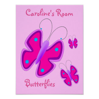Girly Pink Purple Butterflies Polka Dots Custom Poster