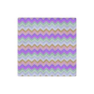 Girly Pink Purple Chevron Silver Glitter Photo Pri Stone Magnet