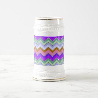 Girly Pink Purple Chevron Silver Glitter Photo Pri 18 Oz Beer Stein