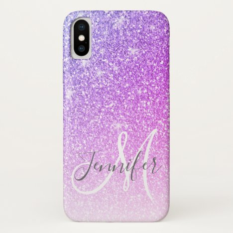 Girly Pink Purple Glitter Sparkles Monogram Name iPhone X Case
