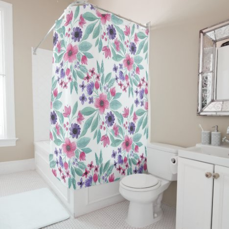 Girly Pink Purple Teal Watercolor Floral Pattern Shower Curtain