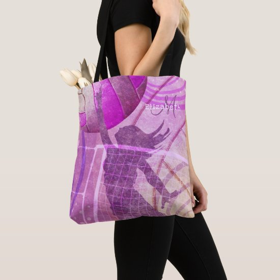 girly pink purple women's volleyball monogrammed tote bag