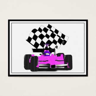 Girly Pink Race Car with Checkered Flag Business Card